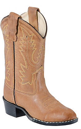 Old West Youth Tan Brown Corona Calf Leather Western Boots