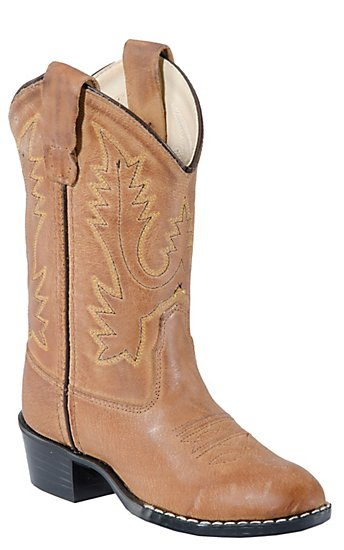 Old West Childrens Tan Brown Corona Calf Leather Western Boots ...