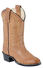 Old West Childrens Tan Brown Corona Calf Leather Western Boots