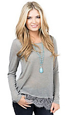 Others Follow Women's Sheer Grey with Lace Hem Long Sleeve Shirt