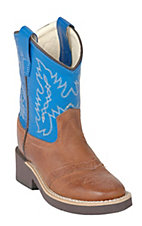 Old West Toddler Brown Tan Canyon w/ Blue Top Corona Calf Leather Saddle Vamp Western Boot