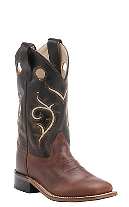 Old West Kids Brown and Dark Brown Corona Calf Leather Square Toe Western Boots