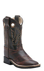 Old West Jama Toddler Vintage Brown w/ Dark Brown Top Square Toe Western Boots