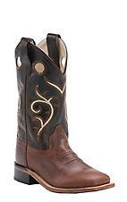 Old West Youth Brown with Dark Brown Corona Calf Leather Square Toe Western Boots
