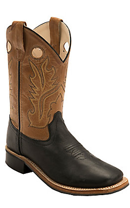 Old West Youth Black with Distressed Tan Corona Calf Leather Square Toe Western Boots