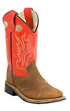Old West Children's Brown w/ Orange Top Double Welt Square Toe Western Boots