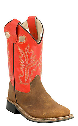 Old West Toddler Brown with Orange Top Square Toe Western Boots