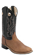 Old West Childrens Distressed Brown w/ Black Leather Top Square Toe Western Boots