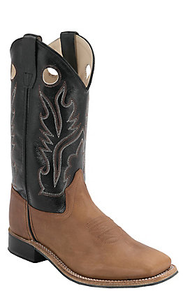 Old West Kids Distressed Brown and Black Corona Calf Leather Square Toe Western Boots