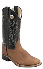 Old West Youth Distressed Brown w/ Black Leather Top Square Toe Western Boots