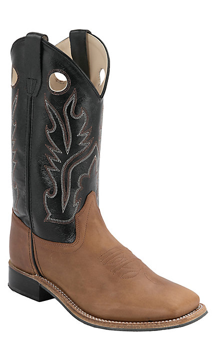 e55757be325 Old West Youth Distressed Brown with Black Corona Calf Leather Square Toe  Western Boots