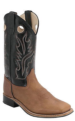 Old West Youth Distressed Brown with Black Corona Calf Leather Square Toe Western Boots