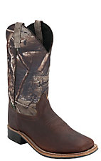 Old West Childrens Thunder Brown w/ Camo Leather Top Square Toe Western Boots