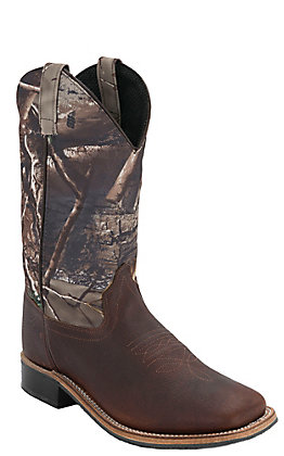 Old West Children's Thunder Brown with Camo Corona Calf Leather Top Square Toe Western Boots