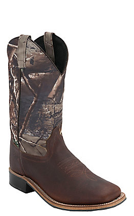 Old West Youth Thunder Brown with Camo Corona Calf Leather Square Toe Western Boots
