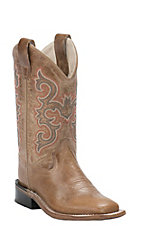 Old West Childrens Tan Fry Corona Calf Leather Square Toe Western Boots