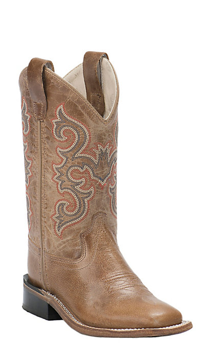 0f8eb71b4aa Old West Childrens Tan Fry Corona Calf Leather Square Toe Western Boots
