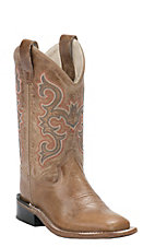 Old West Youth Tan Fry Corona Calf Leather Square Toe Western Boots