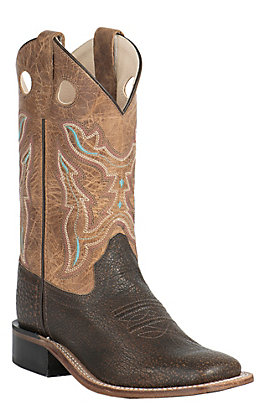 Old West Youth Tumbled Brown and Tan Fry Corona Calf Leather Top Square Toe Western Boots