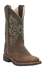Old West Kids Brown Cprona Calf Leather with Embroidery Wide Square Toe Boots