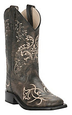 Old West Girl's Vintage Charcoal with Fancy Embroidery Square Toe Western Boots