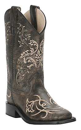 Old West Girl's Vintage Corona Calf Charcoal with Fancy Embroidery Square Toe Western Boots