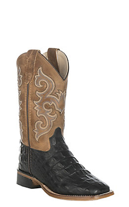 Old West Kids Black Croc Print and Tan Square Toe Western Boot