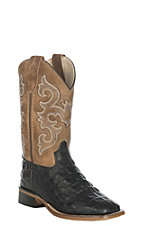 Old West Youth Black & Tan Hornback Gator Print Square Toe Boot