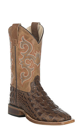 Old West Kids Chocolate Croc Print and Tan Western Square Toe Boot