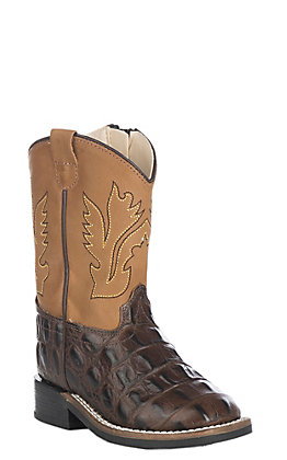 Old West Toddler Chocolate Croc Print and Tan Wide Square Toe Western Boots