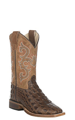 Old West Youth Chocolate/Tan Hornback Gator Print Western Square Toe Boot