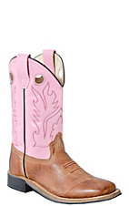 Old West Jama Kid's Corona Calf Leather Distressed Brown & Pink Square Toe Western Boot