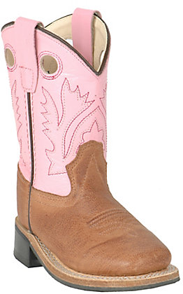 Old West Toddler Distressed Brown and Pink Corona Calf Square Toe Western Boot