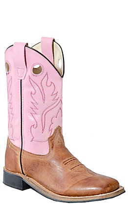 Old West Youth Distressed Brown and Pink Square Toe Western Boot