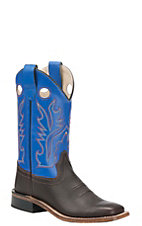 Old West Childrens Oiled Rusty Brown w/ Blue Corona Calf Leather Top Square Toe Western Boots