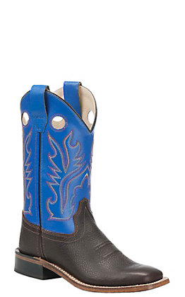 Old West Kids Oiled Rusty Brown and Blue Corona Calf Square Toe Western Boots