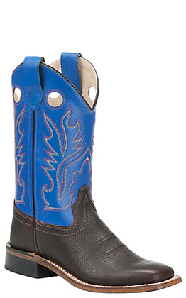 Old West Youth Oiled Rusty Brown with Royal Blue Corona Calf Leather Top Square Toe Western Boots