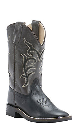 Old West Youth Black with Dirty Brown Leather Top Square Toe Western Boots