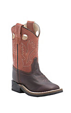 Old West Jama Toddler Distressed Dark Brown w/ Rust Top Square Toe Western Boots