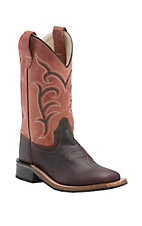 Old West Youth Distressed Dark Brown with Rust Leather Top Square Toe Western Boots