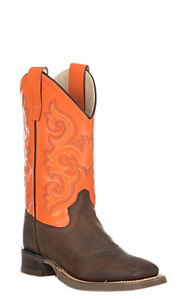 Old West Kids Brown and Orange Square Toe Western Boots