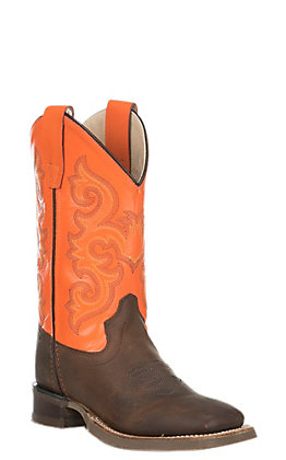 Old West Youth Brown with Orange Upper Square Toe Boots