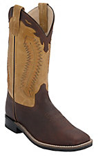 Old West Childrens Thunder Brown w/ Mustard Leather Top Square Toe Western Boots