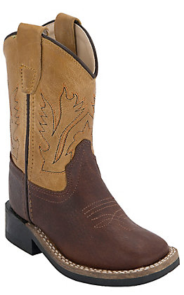 Old West Toddler Thunder Brown with Mustard Top Square Toe Western Boots