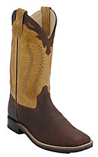 Old West Youth Thunder Brown w/ Mustard Leather Top Square Toe Western Boots