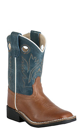 Old West Toddler Burnwood Brown and Vintage Denim Blue Square Toe Western Boots