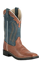 Old West Youth Burnwood Brown w/ Vintage Denim Blue Top Square Toe Western Boots