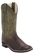 Old West Kids Chocolate Barnwood w/ Olive Top Square Toe Western Boots