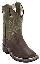 Old West Toddler Chocolate Barnwood w/ Olive Top Square Toe Western Boots