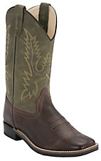 Old West Youth Chocolate Barnwood w/ Olive Top Square Toe Western Boots